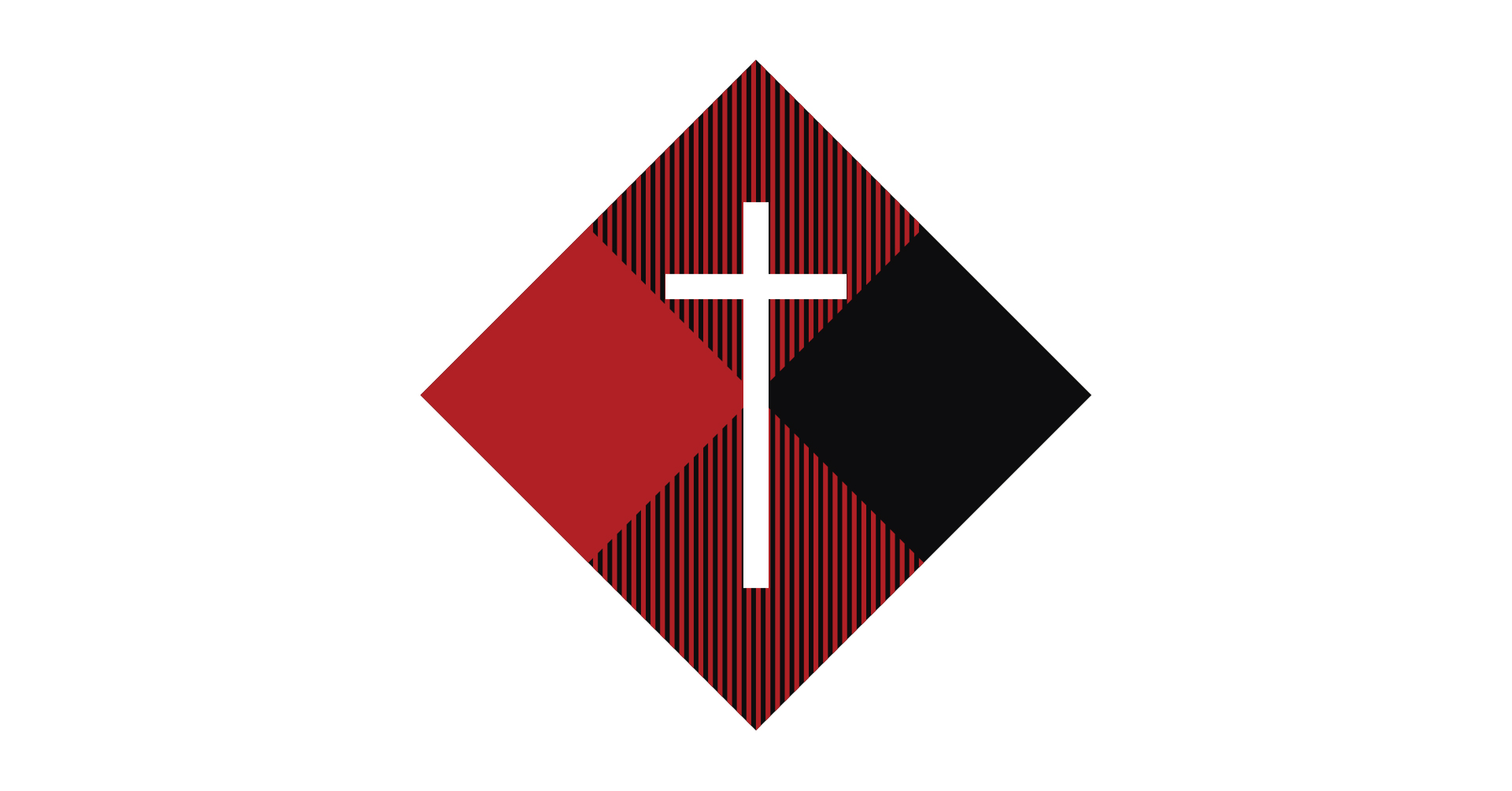 Bold North conference logo, white cross over buffalo plaid